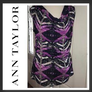 Ann Taylor - M - purple and black top